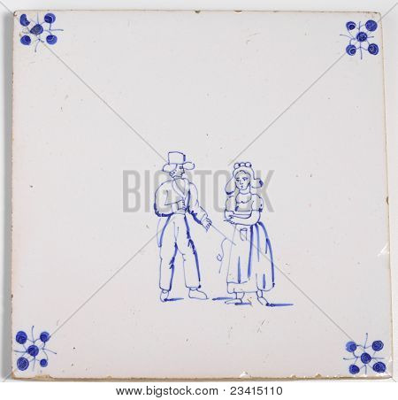 Antique Delft Blue Tile