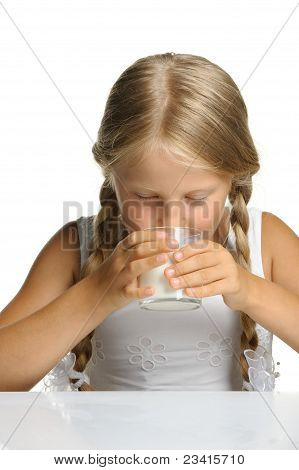 The Pretty Girl With A Glass Of Milk