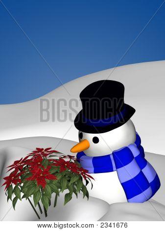 Snowman Smelling Poinsettia