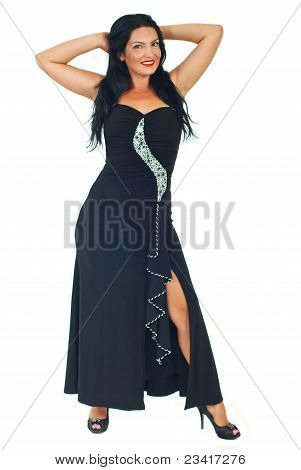 Fashion Model In Elegant Black Dress