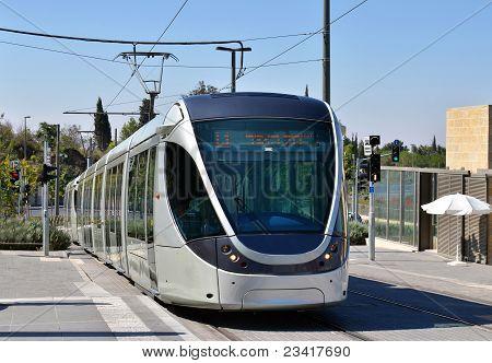 Modern Tram In Jerusalem, Israel