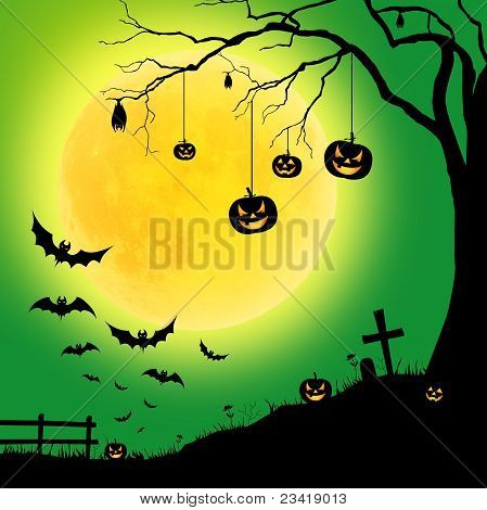 halloween tree, and pumpkins, bats
