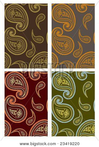 Set of seamless paisley colorful backgrounds