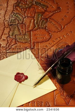 Letter, Quill, Inkwell, Wax & Map