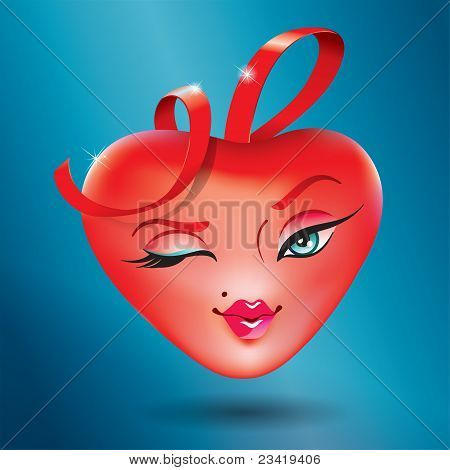 Cute Heart Girl With A Red Ribbon. Icon For Themes Like Love, Valentine's Day, Holidays.