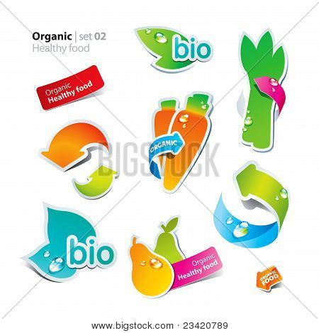 Set Of Stickers And Icons Of Healthy And Organic Food