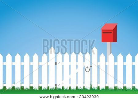 gated white picket fence