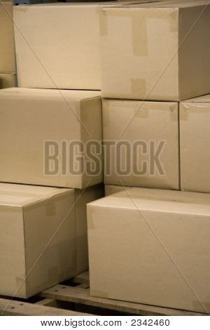 Stack Of Boxes In A Warehouse