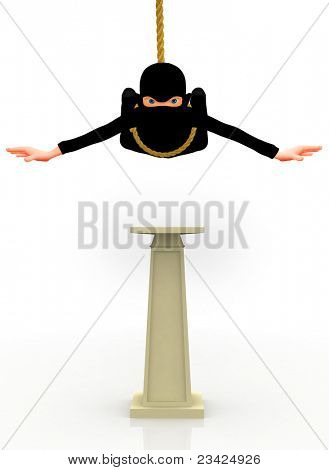 3D burglar with a facemask and a bag - isolated