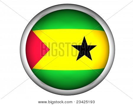 National Flag Of Sao Tome And Principe . Button Style .
