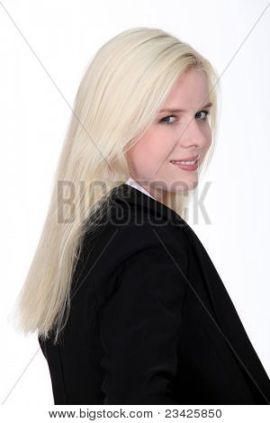 blonde woman wearing a dressy black suit