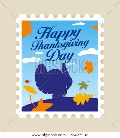 Happy Thanksgiving Day postage stamp.