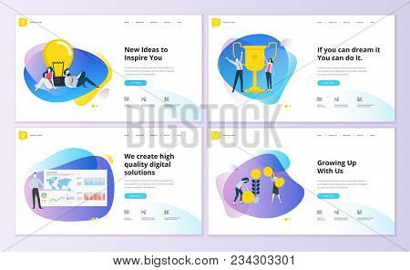 poster of Set Of Website Template Designs. Modern Vector Illustration Concepts Of Web Page Design For Website