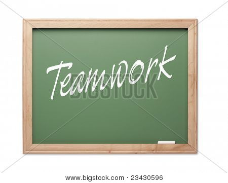 Teamwork Green Chalk Board Series on a White Background.
