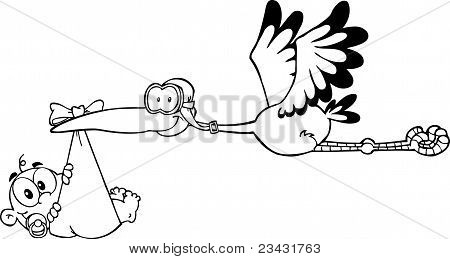 Outlined Baby Adoption Stork With A Child