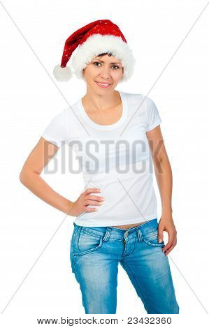 girl in a white T-shirt and hat of Santa