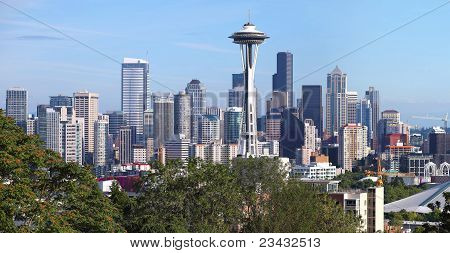Seattle Washington Panorama & Mt. Rainier.