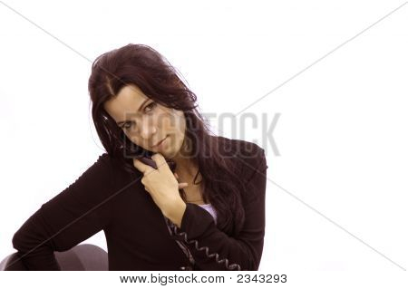 Receptionist Girl Talking By Phone