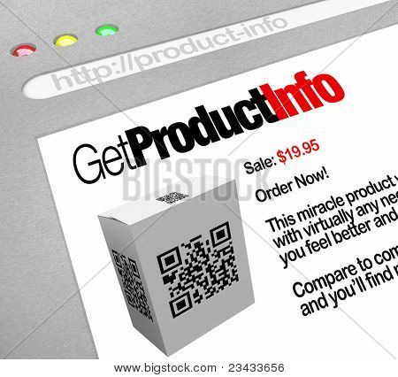 A web browser window shows the Get Product Info, a QR barcode on a box that has been scanned by a smart phone or other mobile device by a customer