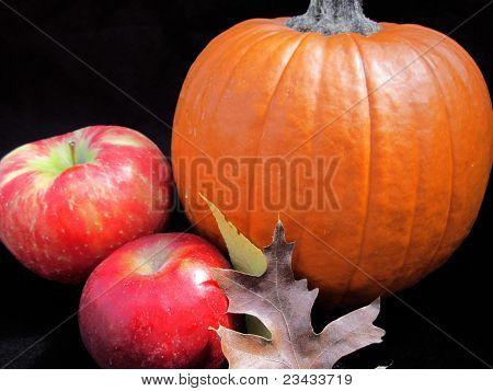 Fall Still Life, Pumpkin, Apples, Leaves