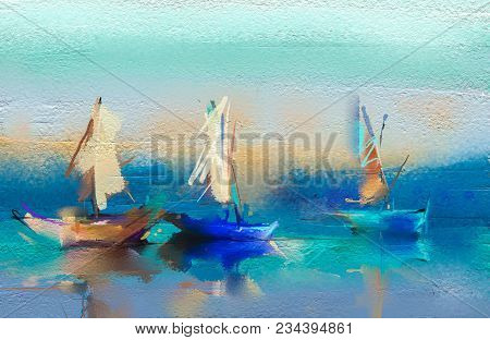 poster of Colorful Oil Painting On Canvas Texture. Semi- Abstract Image Of Seascape Paintings With Sunlight Ba