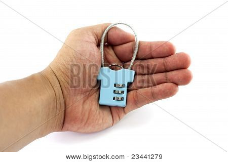 Security concept with locked-key on one hand