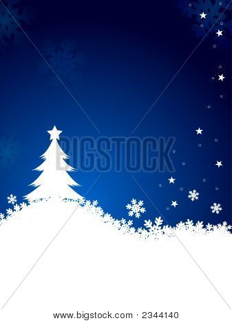 Abstract Christmas Tree With Flake On Night