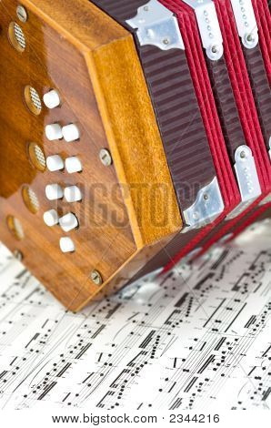 Mini Accordian On Sheet Music