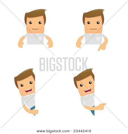 set of funny cartoon casual man