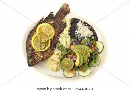Fried Tilapia With Rice, Beans And Salad