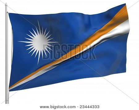 Flying Flag Of Marshall Islands