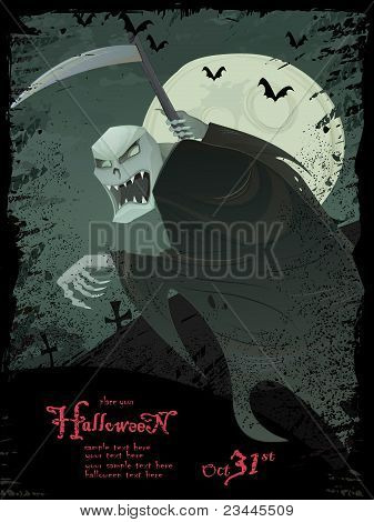 Vector Halloween grunge template with scary grim reaper, bats, graveyard, bugs and copyspace