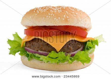 Cheeseburger Isolated On White.