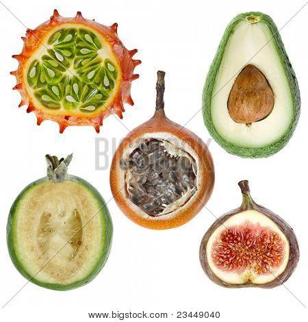 collection  exotic fresh fruits ( kiwano ,avocado,feijoa, granadilla, fig ) isolated on white background