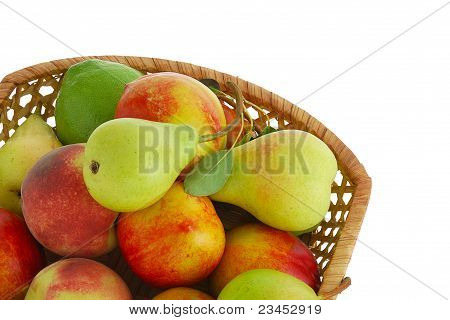 Cropped Closeup Of  Decorative Interwoven Basket With Fresh Fruits