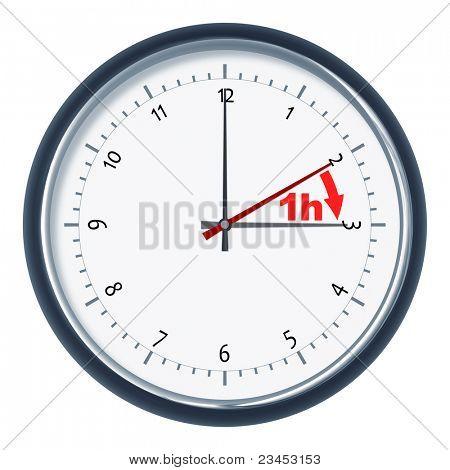 An image of a nice clock daylight saving time 1h