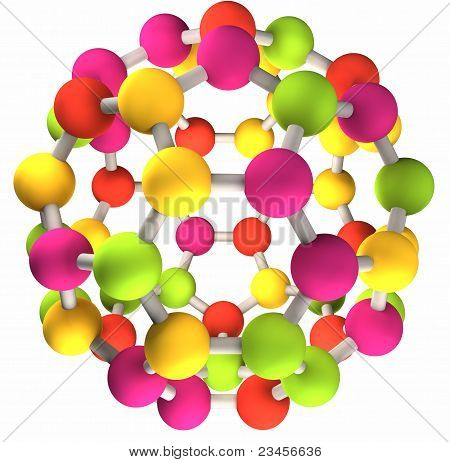 colorful fullerene molecular structure