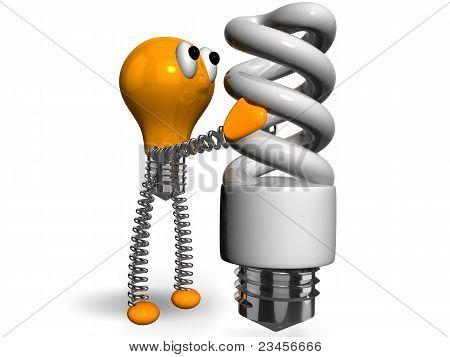 orange old generation bulb holding white energy saving bulb