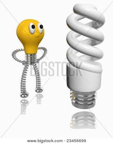 3D rendered orange old bulb looking at energy saving fluorescent light bulb on white