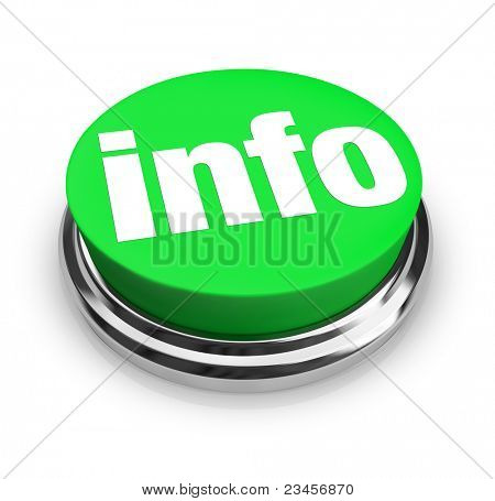 A green button with the word Info representing a way to get more information to answer your questions on an important matter, product or news feature