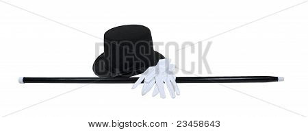 Top Hat Black Cane White Gloves