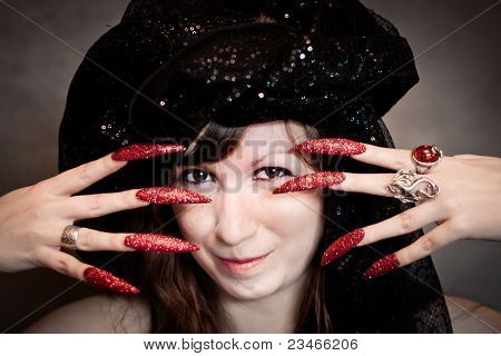 Witch With Black Turban And Long Nails
