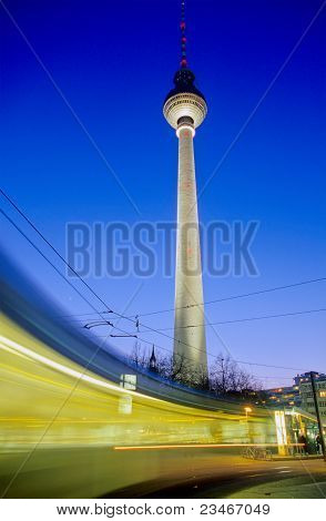 Moving Tram in front of Television Tower, Berlin