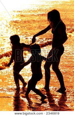 Fondo de siluetas en Sunset Beach
