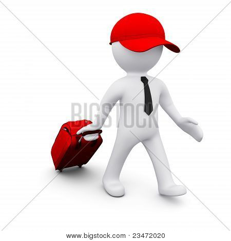 3D man with a suitcase