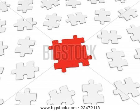 Friendship Concept. 3D Puzzle Pieces