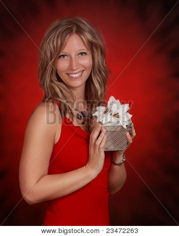 Woman Holding A Silver Gift