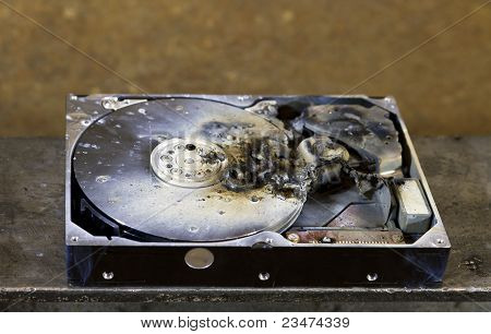 Dead Hard Drive In Close Up