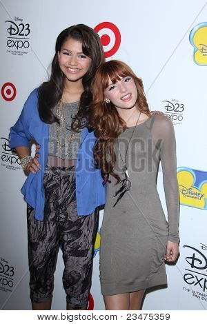 LOS ANGELES - AUG 21:  Zendaya Coleman, Bella Thorne at the D23 Expo 2011 at the Anaheim Convention Center on August 21, 2011 in Anaheim, CA