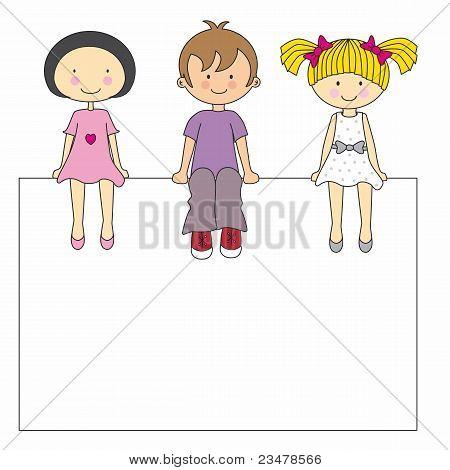 children sitting on a sign